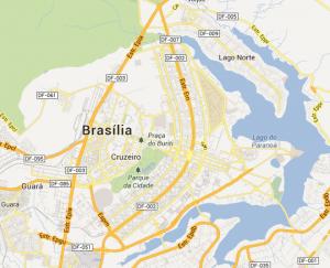 Zu erkennen ist der Grundriss Brasilias in Form eines Flugzeugs/Vogels